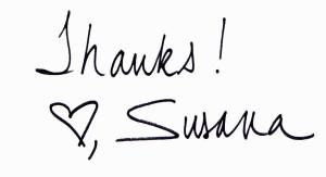 Thank You! Love, Susana
